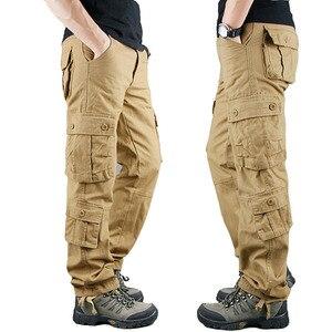 Image 1 - 2020 primavera Mens Cargo Pantaloni Kaki Militare Degli Uomini di Pantaloni Casual Cotone Pantaloni Tattici Degli Uomini di Grande Formato Army Pantalon Militaire Homme