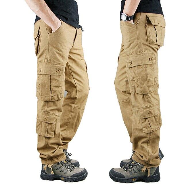 2020 primavera Mens Cargo Pantaloni Kaki Militare Degli Uomini di Pantaloni Casual Cotone Pantaloni Tattici Degli Uomini di Grande Formato Army Pantalon Militaire Homme