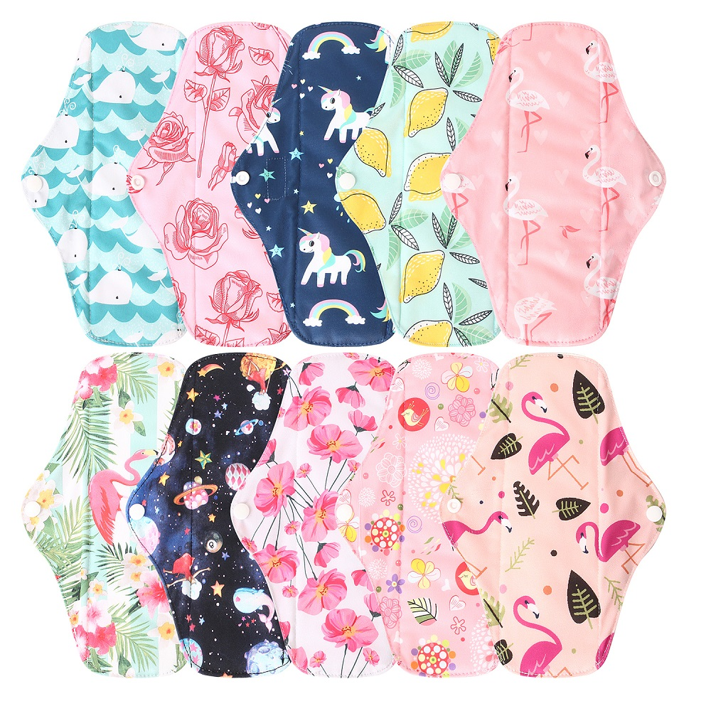 Reusable Sanitary Pads Ohbabyka New Washable Bamboo Cloth Menstrual Pads Waterproof Sanitary Napkin With Bamboo Cotton Inner M