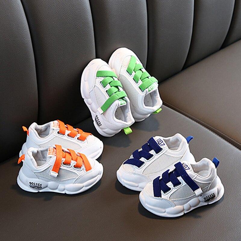 Anne ve Çocuk'ten Tenis Ayakk.'de Çocuklar Eğlence Sneakers çocuk beyaz ayakkabı erkek ve kız Velcro spor ayakkabı yeni örgü rahat bebek bebek ayakkabısı title=