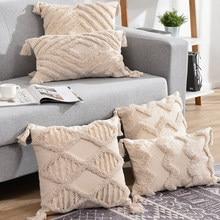 Borlas decorativas capa de almofada 45x 45cm/30x50cm bege sofá fronha capa artesanal decoração de casa para sala de estar cama