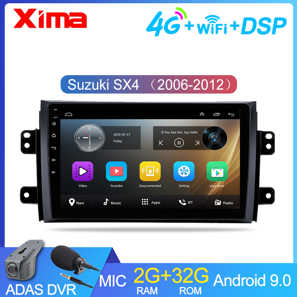 XIMA Car <font><b>Android</b></font> 9.0 gps DVD Player For <font><b>Suzuki</b></font> <font><b>SX4</b></font> 2006 2007 <font><b>2008</b></font> 2009 2010 2011 2012 Car Multimedia 2Din Radio Stereo WIFI image