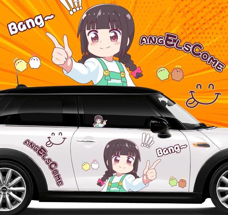 Стайлинг автомобиля для ангела, наклейка на автомобиль «Адвент», креативное украшение корпуса, двери, Сейлор Мун ширасаки, аниме, мультяшны...