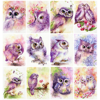 Huacan Diamond Painting Owl Full Drill Square Mosaic Animal Art Embroidery Living Room Wall Decoration