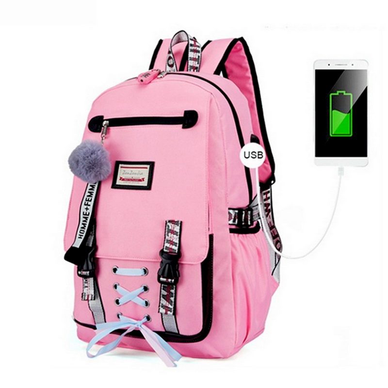 PUIMENTIUA Large Bags For Teenager Girls Usb With Lock Anti Theft Backpack Women Book Bag Big Youth High School Bag Dropshipping Рюкзак