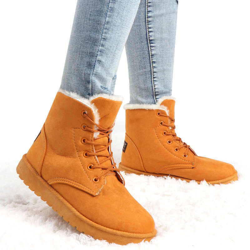 Kadın kışlık botlar dantel-up ayak bileği kar botları kadın sıcak spor ayakkabı kürk patik peluş astarı Botas Mujer 2019