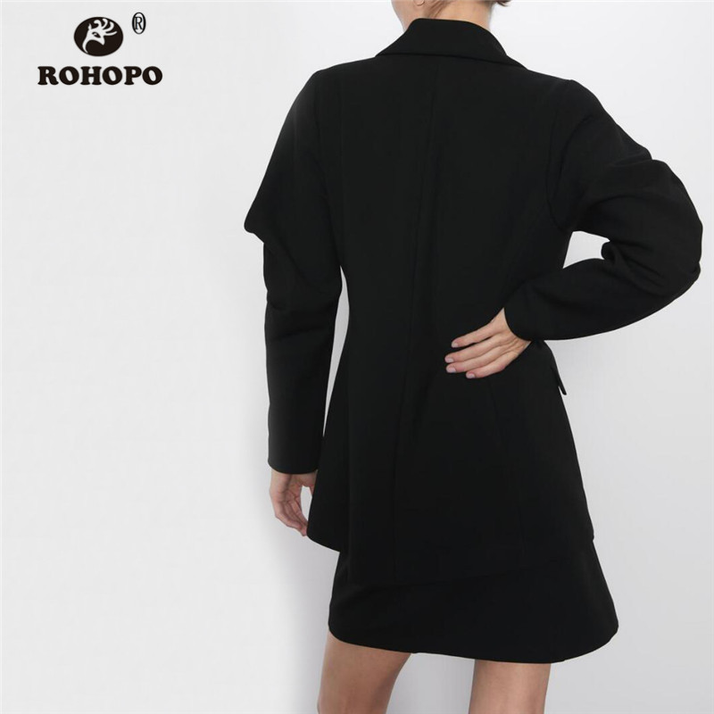 ROHOPO Draped Puff Sleeve Single Buttons Black Ladies Blazer Side Flaps Welted Pockets Notched Collar Office Chic Outwear #9546