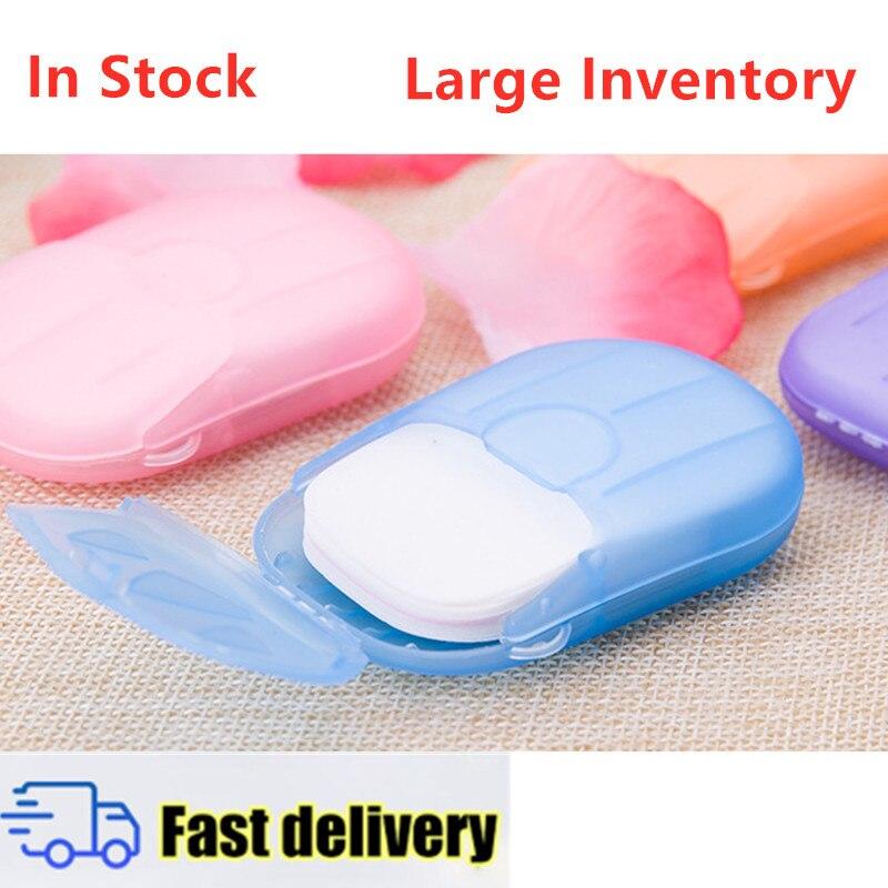 20pcs / Box Portable Hand-washing Bath Soap Paper Disposable Boxed Fragrance Clean Soap Box Travel Mini Slice Foaming Soap