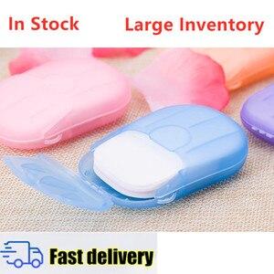 20pcs / Box Portable Hand-washing Bath Soap Paper Disposable Boxed Fragrance Clean Soap Box Travel Mini Slice Foaming Soap(China)