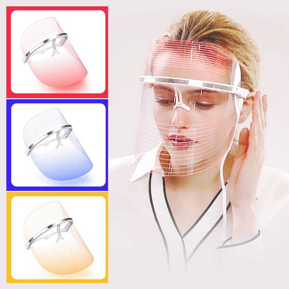 Led Light Therapy Facial Mask Skin Rejuvenation Machine Red Blue Orange 3 Colors Anti Acne Removal Wrinkle Korean Photon Beauty