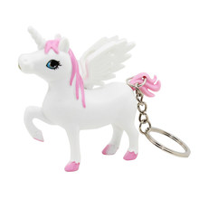 Unicorn Keychain LED Lighting Sounding Key Ring Bag Pendant Charm Car Hanging Flying Licorne Decoration For Girls(China)