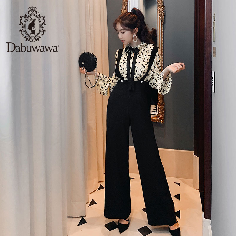 Dabuwawa 2019 Autumn New High Waist Shoulder Strap   Wide     Leg     Pants   Fashion Black Loose Straight Trousers Full Length DN1CRT003