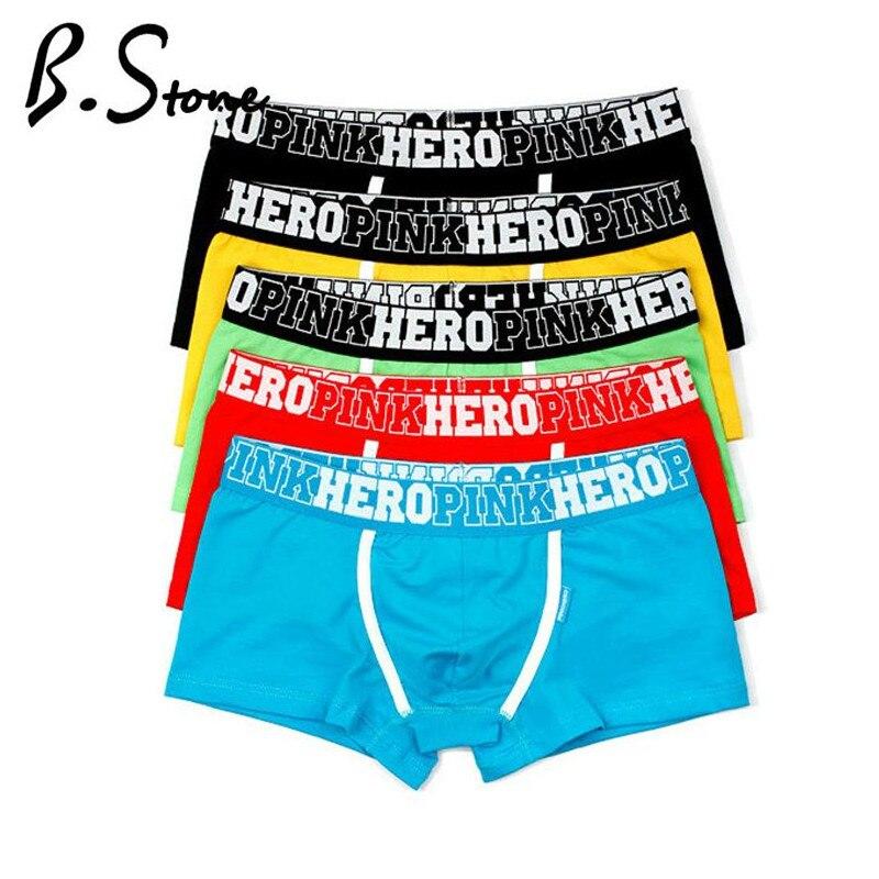 4pcs/Lot Pink Hero Famous Brand Cotton Men's Boxer Underwear Underpant Panties Shorts Man Plus Size Wholesale
