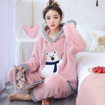 Pajama Lady Autumn And Winter Plush Thickened Long Sleeve Cartoon Sweet Lovely Home Warm Coral Wool Suit