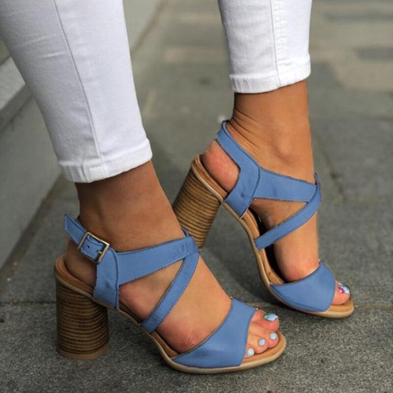 SWQZVT Plus size summer sandals women designer leather women high heels shoes vintage buckle classic casual ladies sandals 2020  (3)