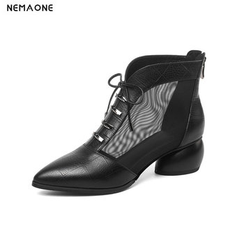 Genuine Leather 2020 New Summer Cow Leather Women Shoes Fashion Square Heel Zipper Women Ankle Boots Black Size 34-42