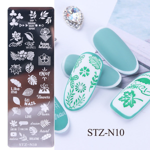 Image 3 - 1pcs 12x4cm Nail Stamping Plates Leaf Flowers Butterfly Cat Nail Art Stamp Templates Stencils Design Polish Manicure TRSTZN01 12