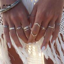 Tocona 12 sztuk/zestawów Vintage kolor srebrny księżyc zestawy pierścionków dla kobiet prosty styl geometryczna gwiazda biżuteria akcesoria Anillo 13304