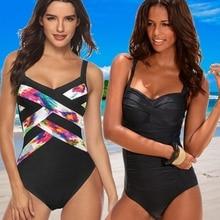 2020 New Sexy Black One Piece Swimsuit Vintage Big Size Swimwear Women Ruched Tummy Control Monokini Bathing Suit Plus Size XXXL plus size skirted ruched one piece criss cross swimsuit