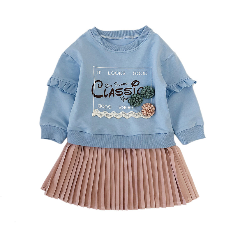 Harajuku Children Sweatshirts Sitching Draped Dress Girls Daily Outfits Leisure Sportshirt Clothes Letter Printed Toddler Dress
