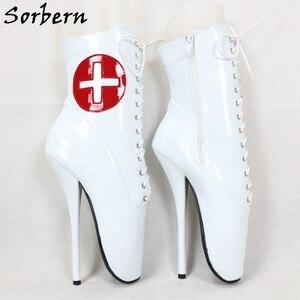 Image 3 - Sorbern kırmızı çapraz beyaz Patent bale botları ayak bileği yüksek patik Stilettos 18Cm dantel Up Unisex artı boyutu ayakkabı kısa çizmeler bayan