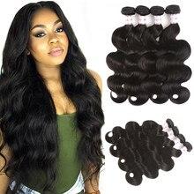 MSH Hair-extensiones de cabello humano brasileño ondulado, no Remy, 4 mechones, color negro Natural, relación media