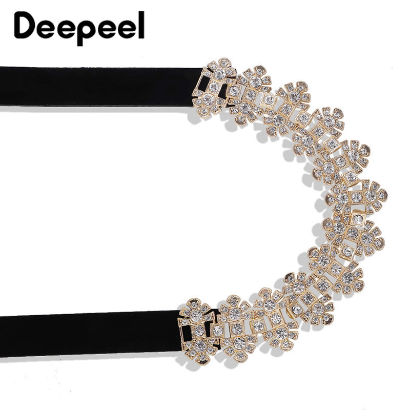 Deepeel 1pc 3.6*98cm Ladies Diamond Velvet Pin Buckle Cummerbunds Alloy Buckle Personality Advanced  Girdle With Elegant Dress
