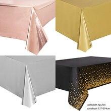 Nappe de table à pois or/argent Rose 137x274cm, fournitures de fête d'anniversaire pour adultes, décorations de mariage