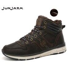 Мужские теплые зимние ботинки JUNJARM, плюшевые ботинки на меху, мужские мотоциклетные ботинки на шнуровке, повседневная обувь ручной работы, мужская обувь, новинка 2020