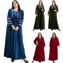 Muslim Abaya Maxi-Dress Embroidery Jilbab Kaftan Velvet Arab Islamic Party Long Plus-Size