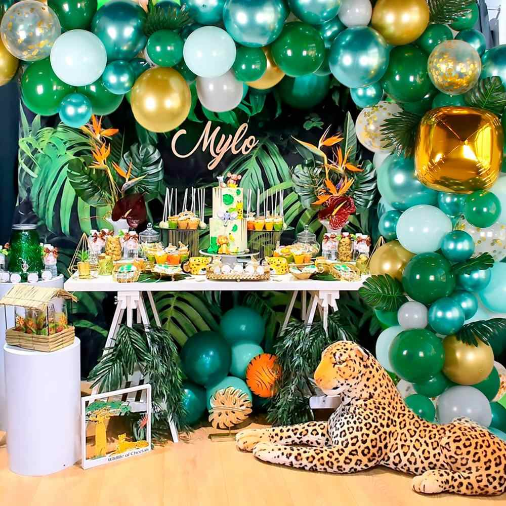 HUIRANสีเขียวชุดบอลลูนอาบน้ำเด็กบอลลูนHappy 1st Birthday Party Decorเด็กBalon Wild Safari Partyบอลลูน