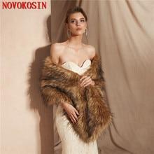 2019 Winter  Faux Fur Bride Small Vest  Cardigan Poncho  Warm Bridal Wedding Dress Wraps New Fashion Long Wedding Shawl