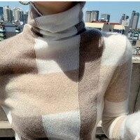 2021 nuovo autunno inverno lavorato a maglia sottile maglione di lana a collo alto bottoming pullover da donna minimalista a maniche lunghe casual all-match