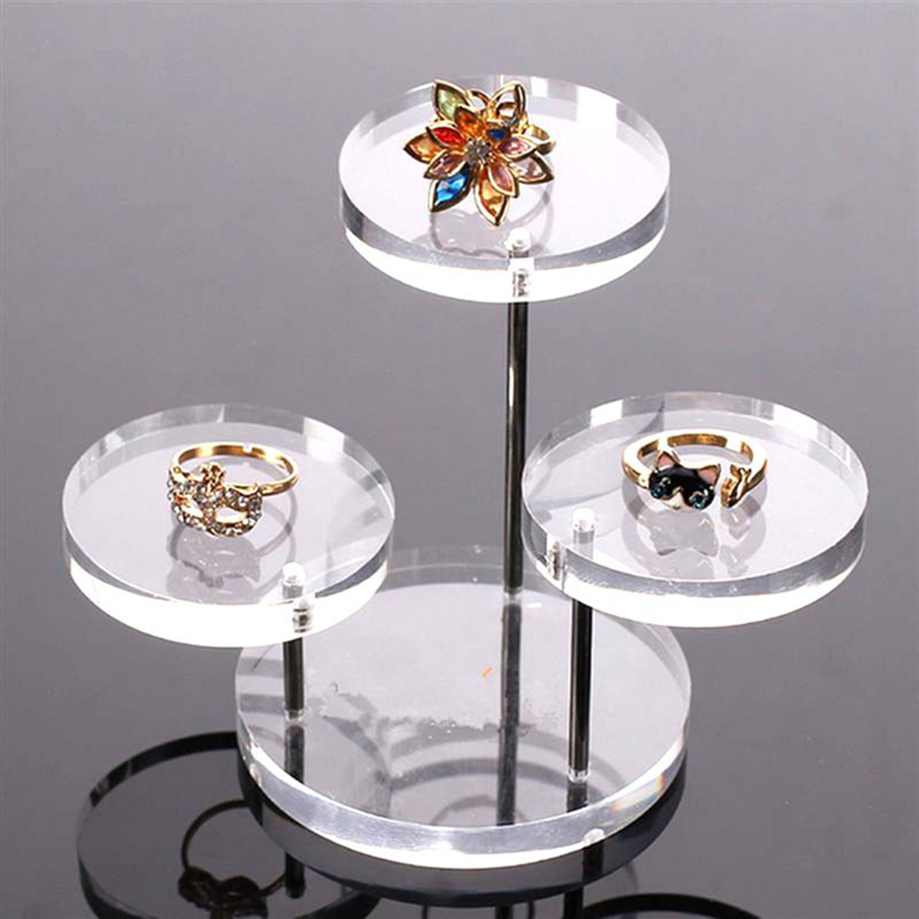 3-Tier Clear Acrylic Round Pendant Necklace Bracelet Display Stand Set Of 1