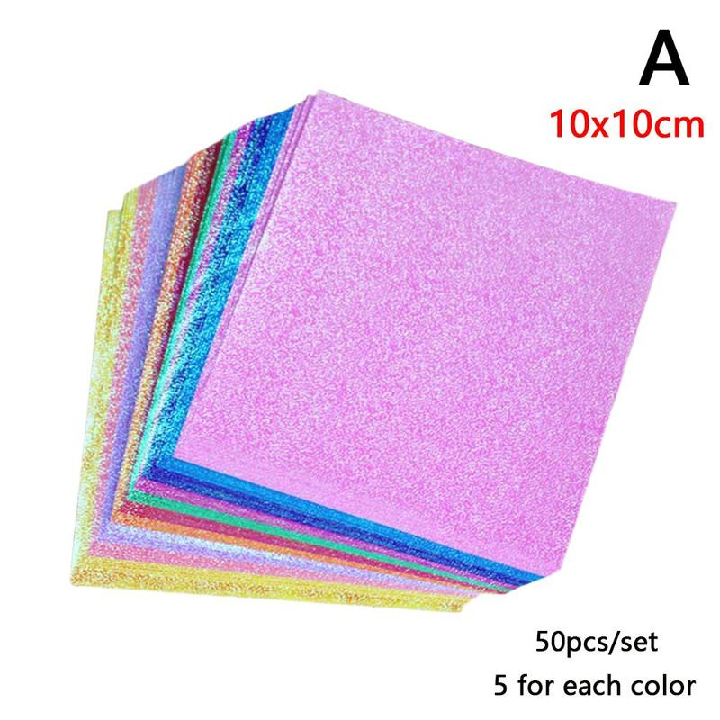 50pcs/set  Square Origami Paper Glitter Origami Shining Folding Solid Color Papers Scrapbooking Craft For Children