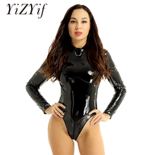 Women Lingerie bodysuits sexy costumes One-piece Wetlook Patent Leather High Col