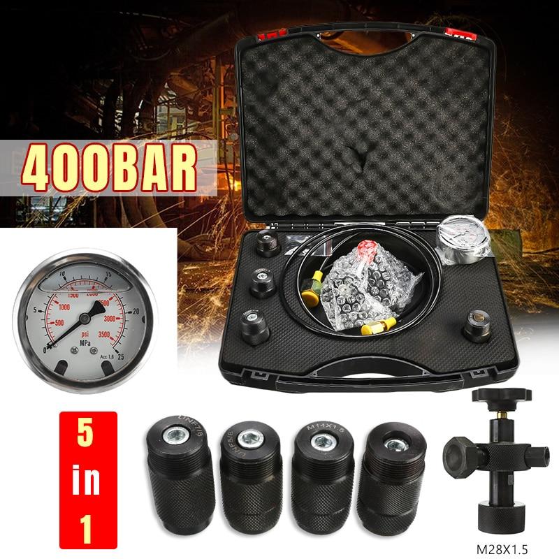 0-400Bar 6000Psi Gauges Set Hydraulic Accumulator Nitrogen Charging Fill Gas Valve Pressure Gauges Test Kit Five Type Adapter