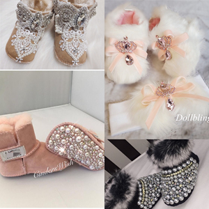 Image 4 - Dollbling Botas de perlas personalizadas para bebé, botas de perlas personalizadas hechas a mano de lujo para bebé, abalorios de marfil para invierno