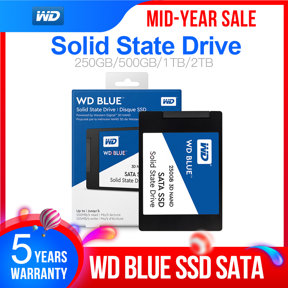 Western Digital WD Blue <font><b>SSD</b></font> 500gb interne Solid State Disque <font><b>500</b></font> <font><b>GB</b></font> - SATA 6 Gbit/s <font><b>2.5</b></font>
