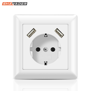 USB Wall Socket Electrical 2 Way Plug Power Outlet 16A Flush Mounted EU Square Schuko for Smartphone Tablet MP3 Office Kitchen(China)