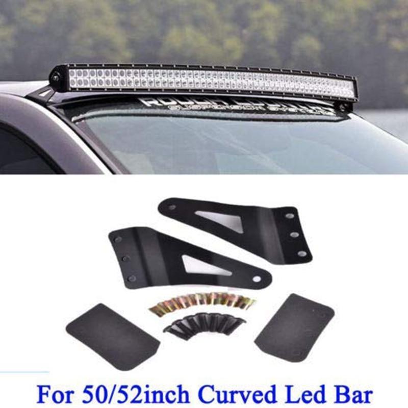 Upper Windshield Mount Brackets For 99-06 Chevy Silverado/GMC Sierra 50Inch Curved LED Light Bar Socket Holder