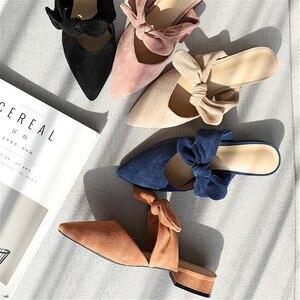 Image 2 - Nova Mulher 2020 Sapatos Chinelos de Verão Das Sandálias Das Mulheres Sapatos Flats Senhoras Rebanho Borboleta Nó Casual Praia Elegante Ao Ar Livre Slides
