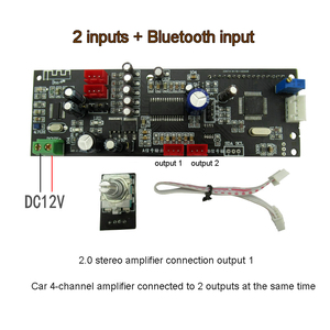 Image 2 - Lusya 2 דרכים אודיו קלט + Bluetooth קלט PT2313 דיגיטלי טון לוח עם 1602 LCD תצוגת נפח התאמת עבור רכב a5 017