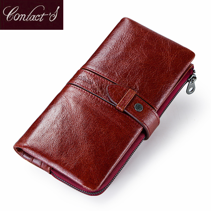 New Fashion Women Wallets Genuine Leather Long Wallet Zipper Female Card Holder Clutch Brand Design Coin Purse With Phone Holder