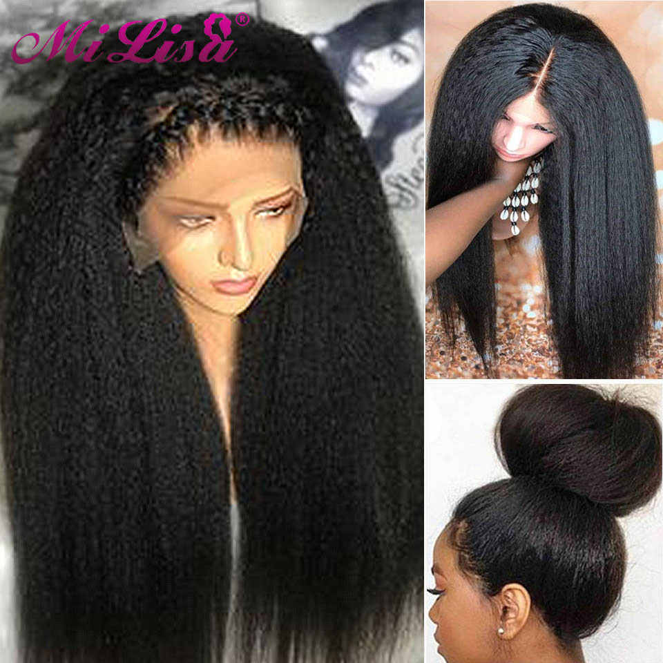 Malaysian Kinky Straight Wig Glueless Lace Front Human Hair Wigs for Black Women Coarse Yaki Straight Wigs Remy Hair Mi Lisa 150