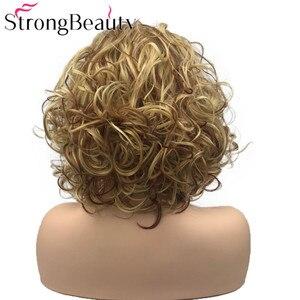 Image 4 - StrongBeauty מתולתל נשים פאה קצר סינטטי עמיד בחום פאות נשים יומי או קוספליי שיער