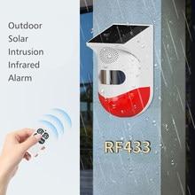 Outdoor Solar Infrared Detector Sensor Anti-Theft Alarm PIR Intrusion Detector Wireless Security Alarm System Safeguard with 433