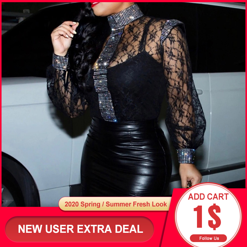 Women Plus Size Sexy Lace Blouse Shirts Summer 2020 African Party Club Slim Transparent Long Sleeve Black Tops Female Blouse