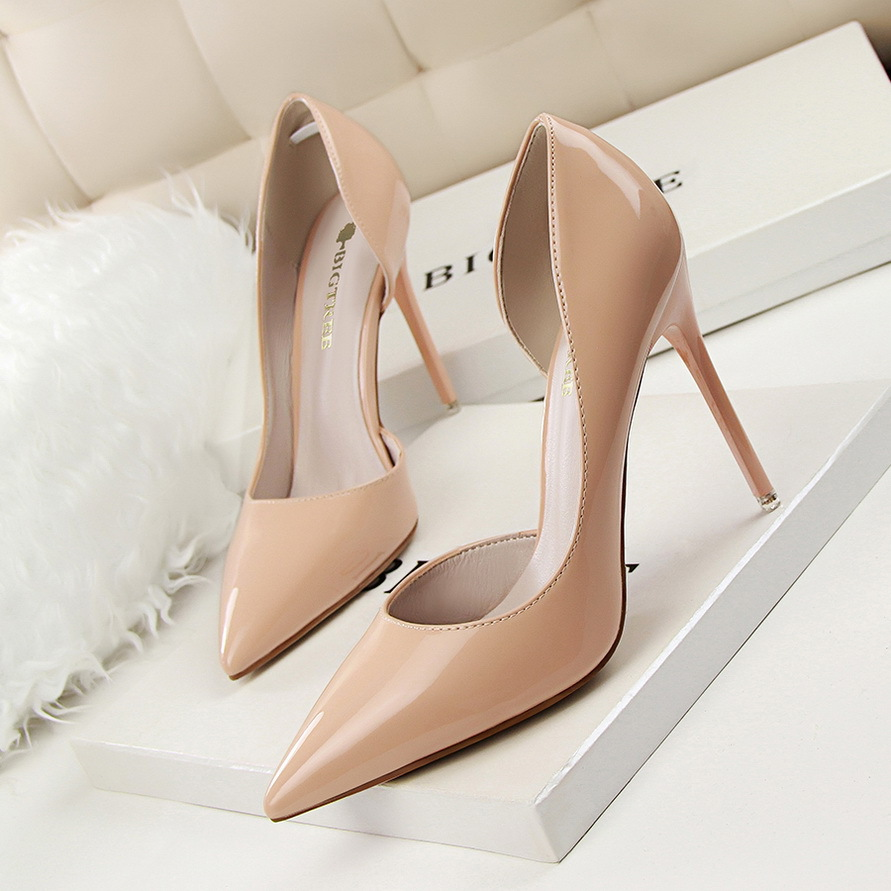 Summer Women High Heels Simple Hollow Pumps Thin Heel Fashion Patent Leather Pointed Sexy High-heeled Size 34 Shoes G638-5