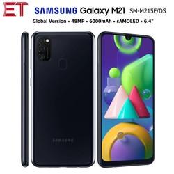 Samsung Galaxy M21 M215F/DSN глобальная версия 4G мобильный телефон 4 Гб 64 Гб OctaCore 6,4 дюйм1080x2340 6000 мА/ч, 48MP NFC Android смартфон